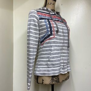 Lucky Brand Gray Stripe Embroidery Zip Hoodie Sm.